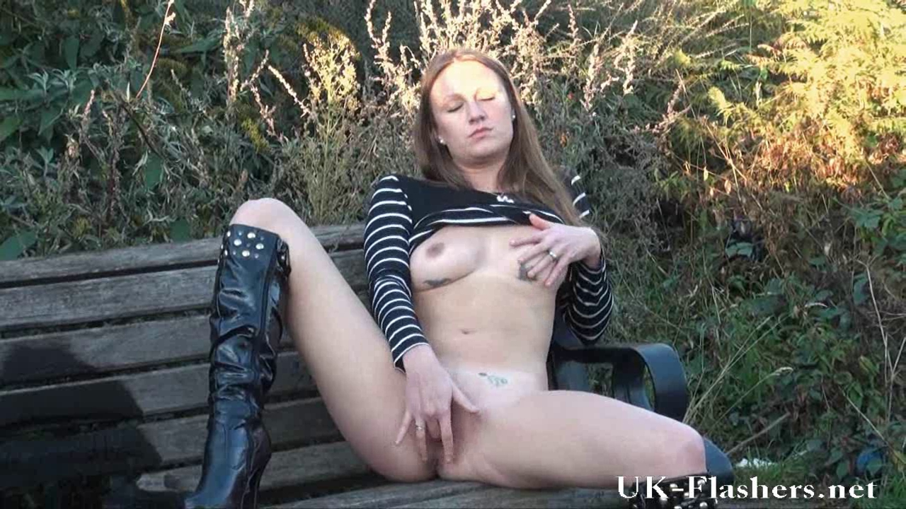 Hot Non-Professional Randy Masturbating in a public park Christian singer redhead