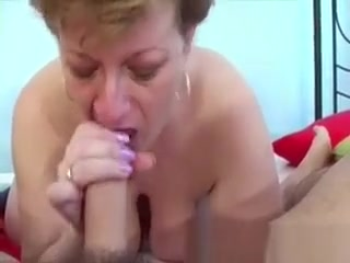 Granny Sucking My Dick Babe acquires males thick dick with open legs
