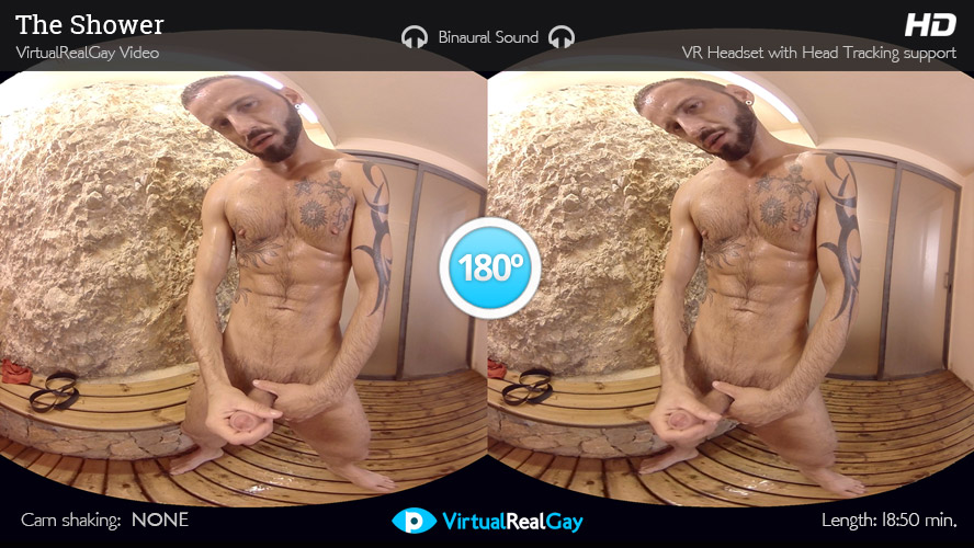 The Shower - Virtualrealgay Sex hole in sheet