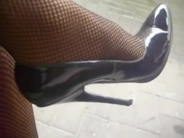Men Wear Black High Heels Stiletto With Fishnets stockings granny and grandson tube