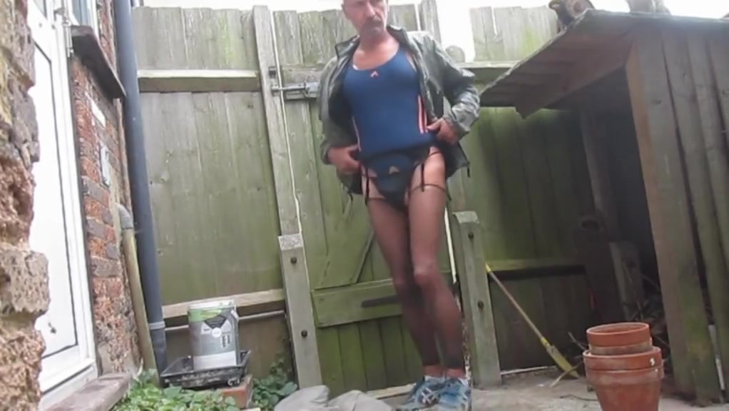 outdoor wank in one piece swimsuit Sexy underwear voyeur