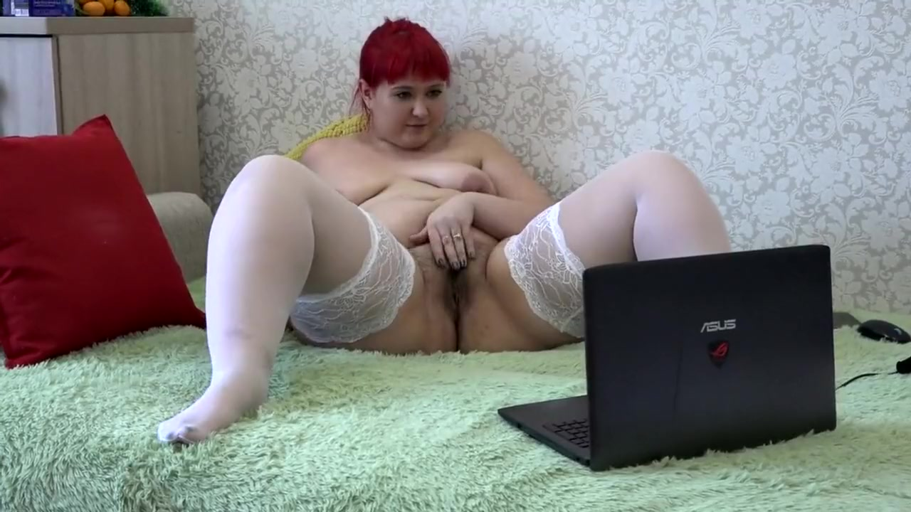 Beautiful Bbw In White Stockings With A Hairy Pussy, Masturbates To A Webca