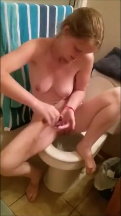 Filming My Hot Wife Masturbating In The Bathroom Pussy takes a pounding