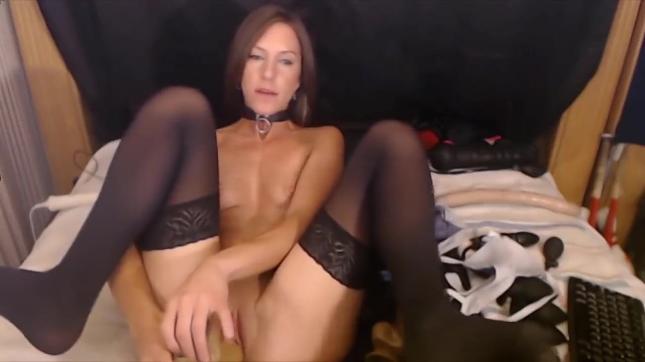 Petite submissive babe with giant dildo stretches tight pussy
