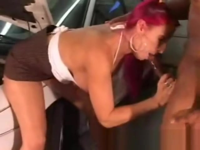 BBC Slut Sucks Off Mechanic Huge jerk off