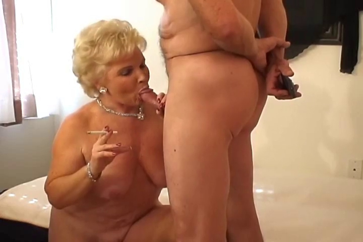 Sexy Golden-Haired Granny Smokin Sex
