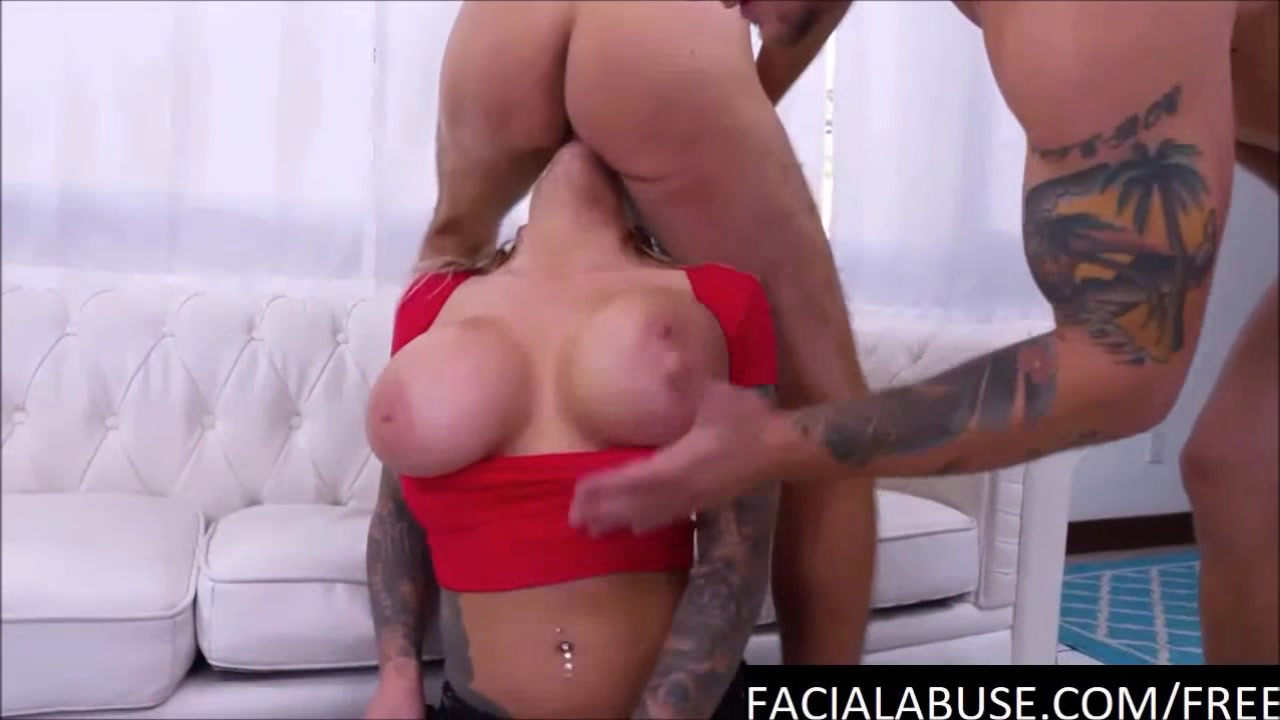 Big boobed dirty girl face fucked deep and hard penis irritated after sex