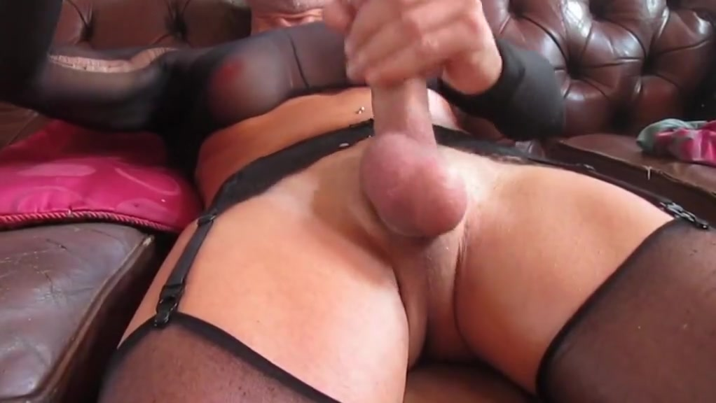 wank on sofa with fake tits and suspender belt Redhead amateur playing with her snatch