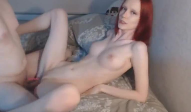 Amateur slim redhead with big boobs fucked on webcam