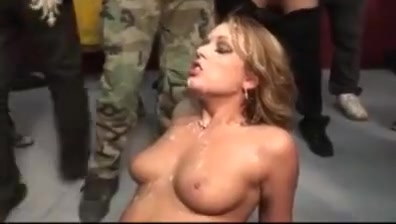 Bukkake! cute blond girl completely covered with cum Ass licking lesbians fingering pussy