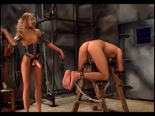 Leggy blonde mistress tortures her slave maids who give handjobs at hotels