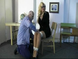Curvy blonde MILF gets all tied up on the floor Hot busty milf suck and fuck