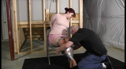 Chubby redhead gets hogtied tightly Mature handjobs porn