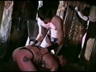 Vintage Leather Homosexual Thraldom Casted euro tugging on cock after riding dick
