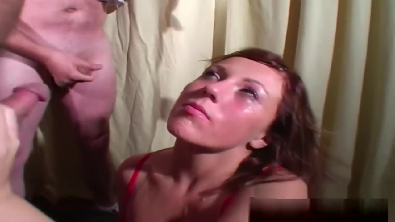 Horny Brunette Gets Covered In Jizz At Bukkake
