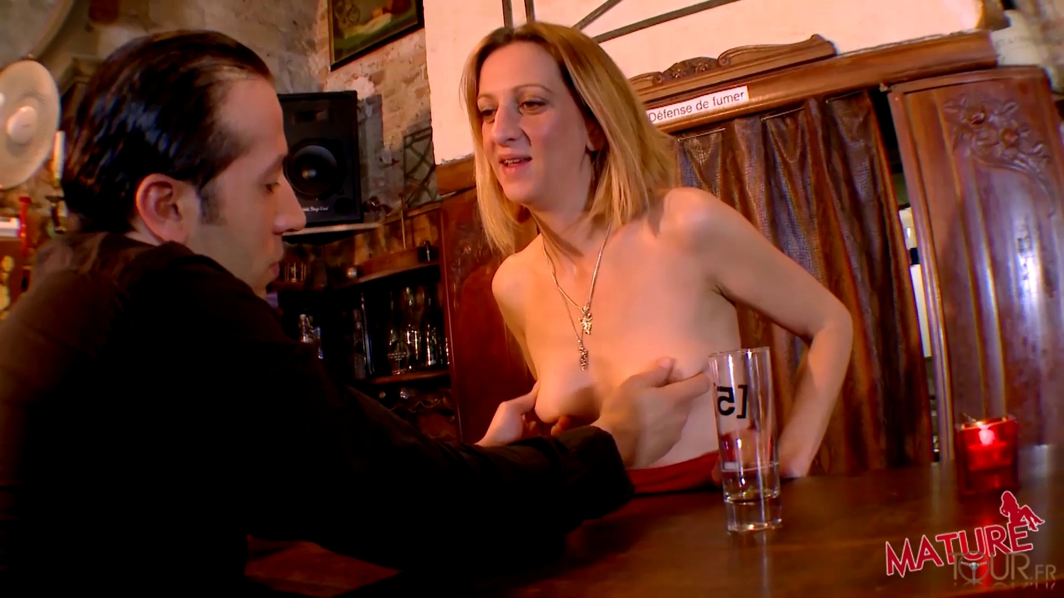 Busty mature bartender gets some action in HD throat like sand paper and burns