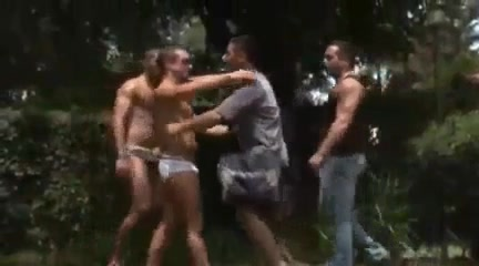 The neighbor watches two guys fucking Hot girls in white