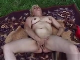 Blonde Masturbating Granny Explicit pussy castigation for an sex slave