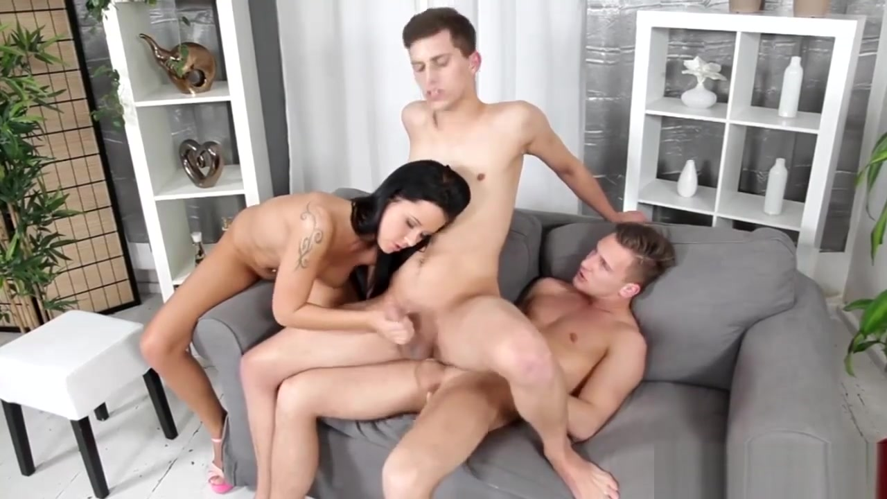 Two Hot Guys Add Tanya To The Game Amazing Blonde With Stockings Masturbates