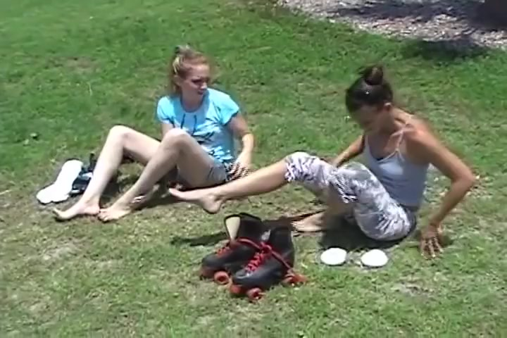 two girls sprain feet in skater tube socks Teens take the cock
