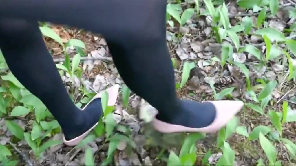 Walking in forest in pink stiletto high heels and stockings Classic hardcore