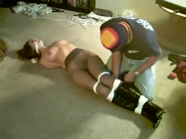 bondage hooded Jizz on hot tits