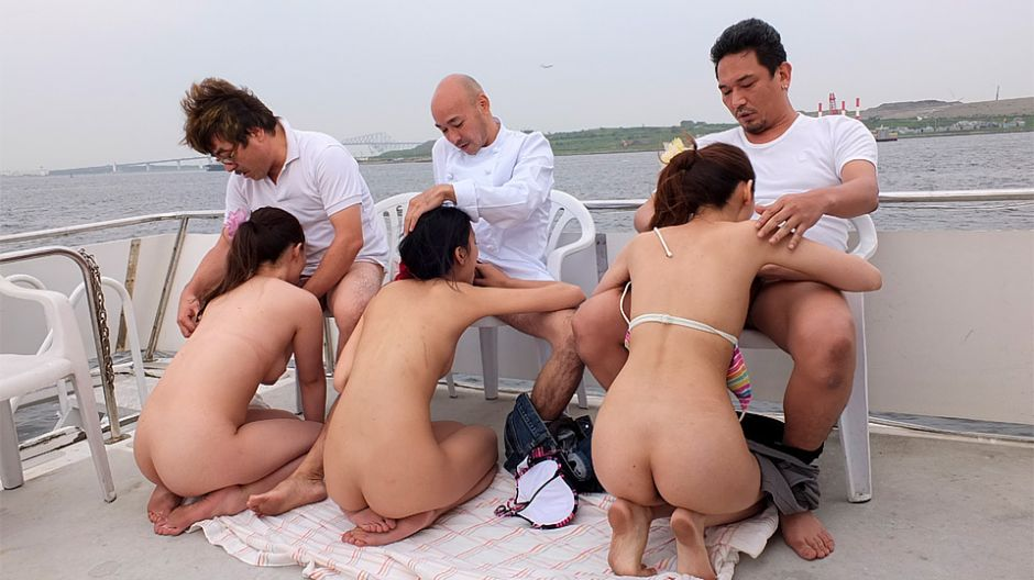 Nanami Aibu, Sae Yukino And Aira Masaki Punished On A Yacht - JapanHDV Busty blonde green bikini