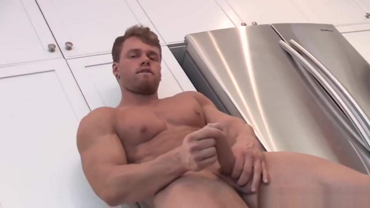 Handsome blonde hunk jerking off in the kitchen Hot Sex Lesbian Movies