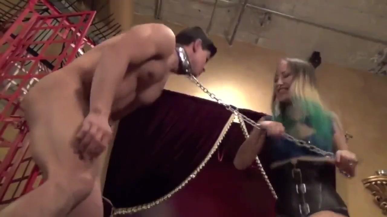 Asian-American Ballbusting Muscular Slave in High Heels
