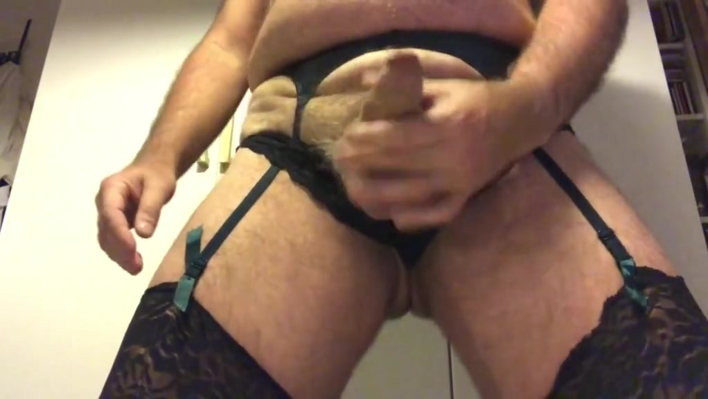 Wanking in my wifes stockings, girdle and see-through top Granny hairy pussey
