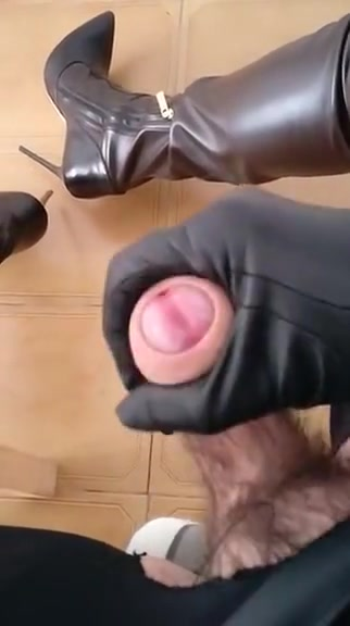 Cum in leather dress boots heels huge boobs tight ass