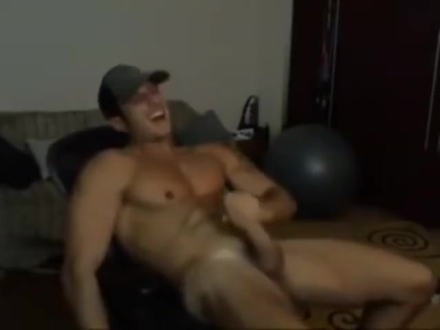 Hot Muscular Jock Wearing Cap Masturbating Solo on Webcam Girl licks ass and drinks piss