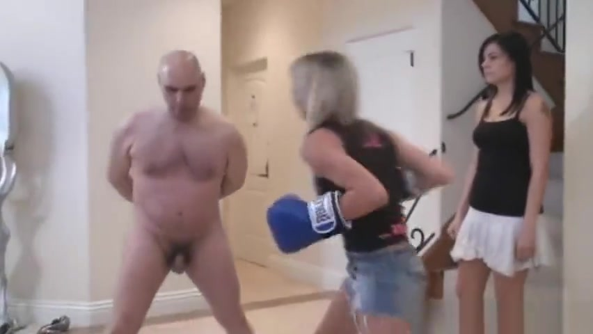 Three mistress punch slave with boxing gloves Sexy Porn Parody