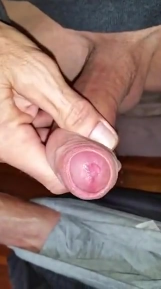 Slapping and stroking my big wet cock nude tug of war