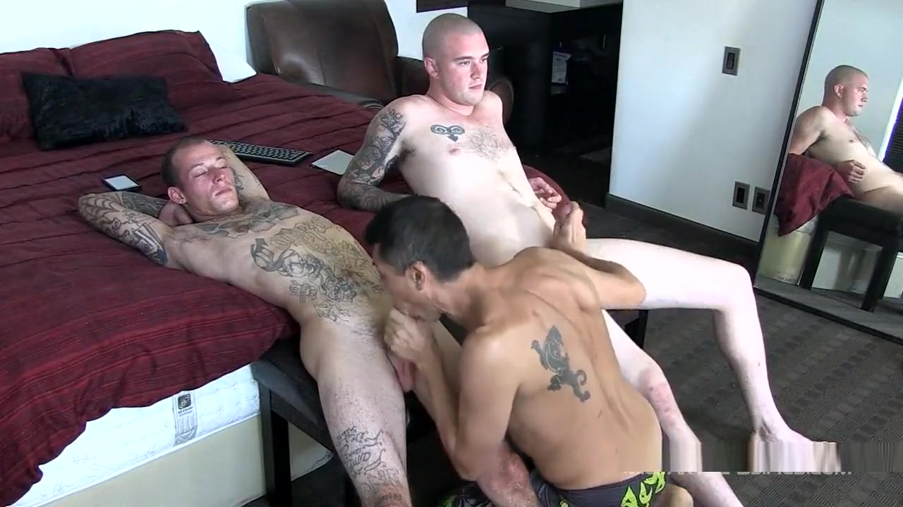 TWO CURIOUS MILITARY GUYS Gets Surprise Creampie From
