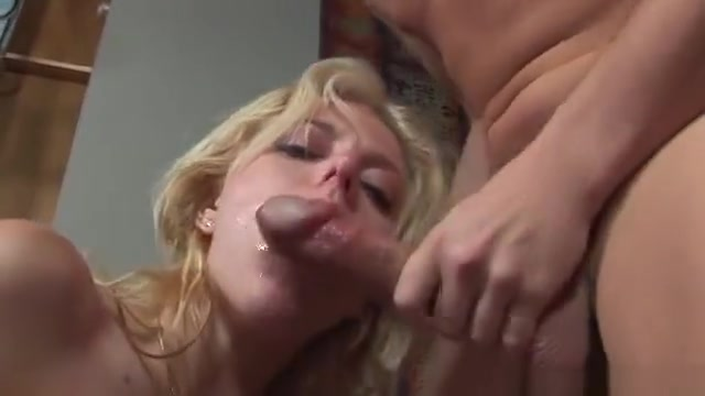 blonde chick Angela Stone showing how good she is in giving a BJ Bbw brunette glasses porn