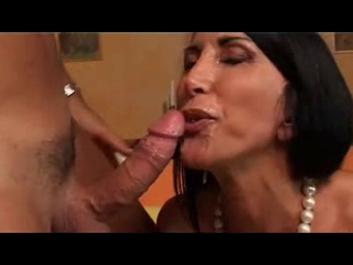 Lovely black haired MILF slut gets fucked and facialized Hoodie tits nude