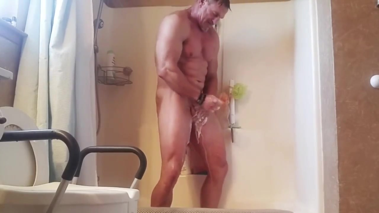 Mature stud takes a shower and cleans his dirty cock Mary gets an orgasm
