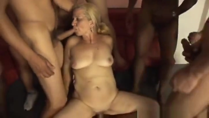 Mature granny Lara Saint gets gangbanged Happy without sex