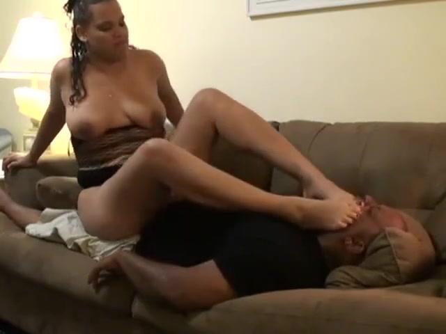 Ebony Foot Gagging fetish dirty thong alone on floor