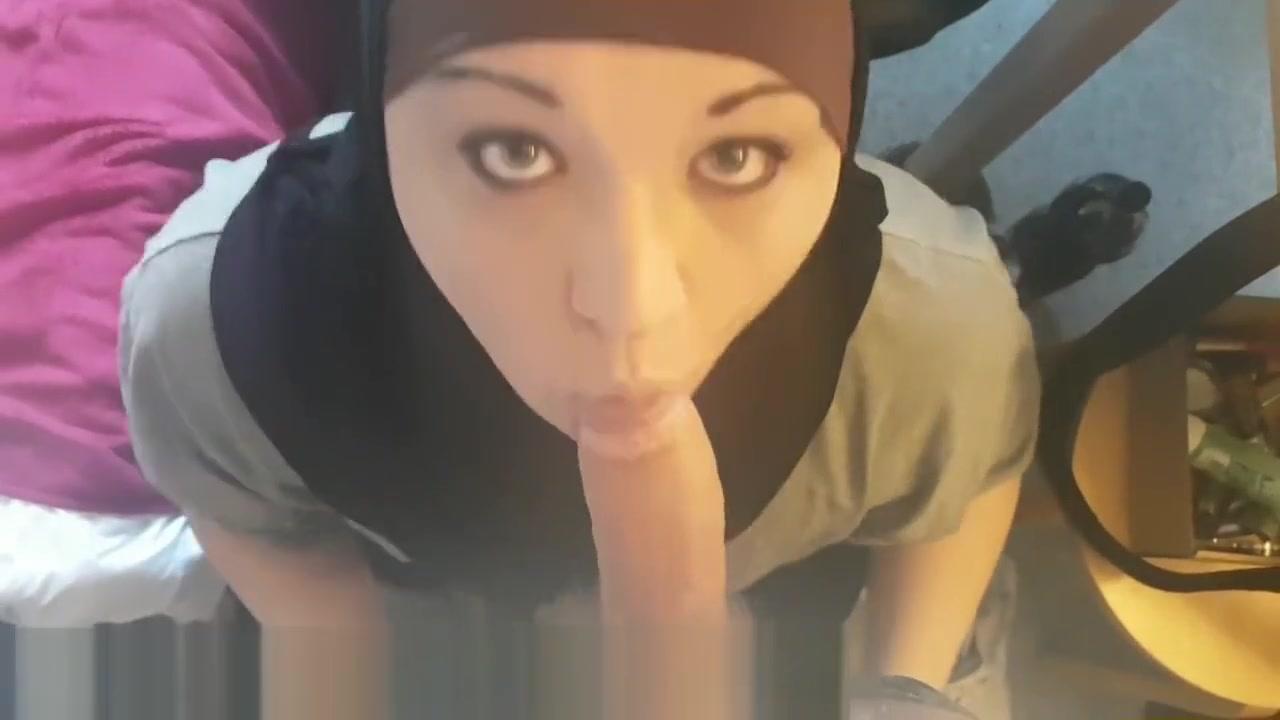 Slutty Hijab Boy Wearing Make Up And Sucking White Dick