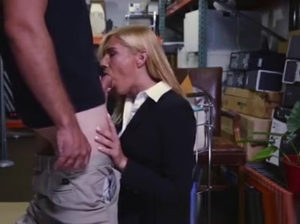 Blonde Milf Sucking Off Owner Of Pawn Shop In Back Room Horny masked mature slut getting wet
