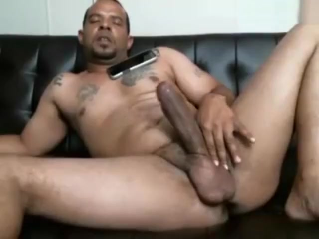 Str8 black dad jerks his phat dick on living room sofa big black oily booty