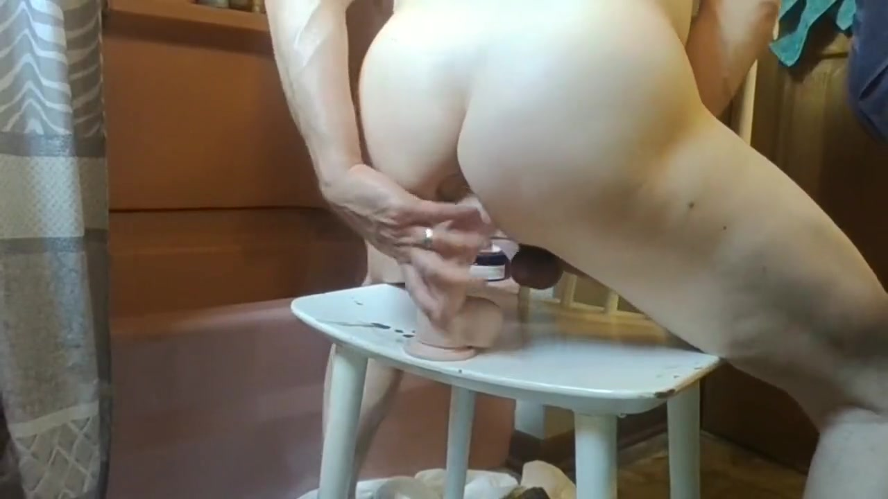 Chair Fucking Double Dildos Intense Stretching Stately elderly femdom