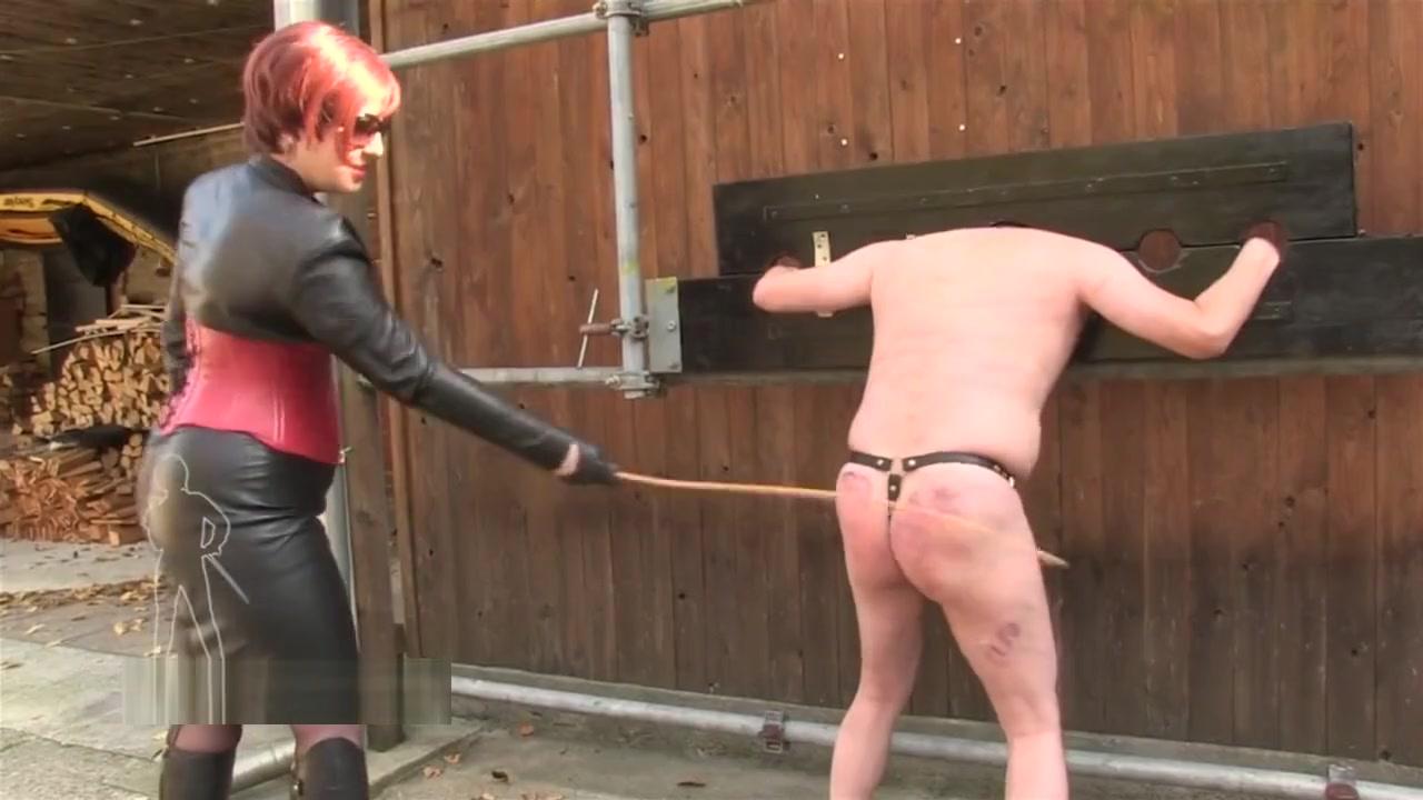 Leather mistress canes stupid slave