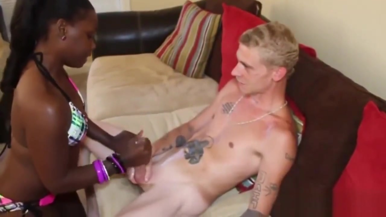 Slutty ebony tugging white cock In the behind