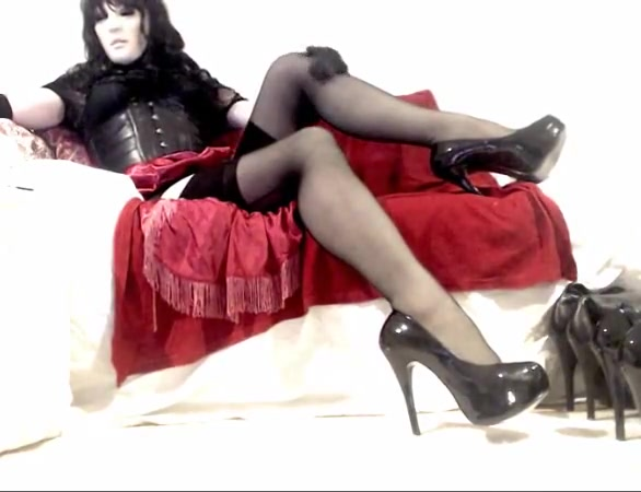 Kinky Crossdresser relaxing in heels and lingerie on cam Aroused Hot Bigtit Brunette And Blond