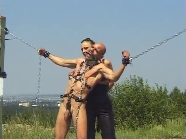 Mistress Punishes Chained Slave Outdoors Skinny legs tube