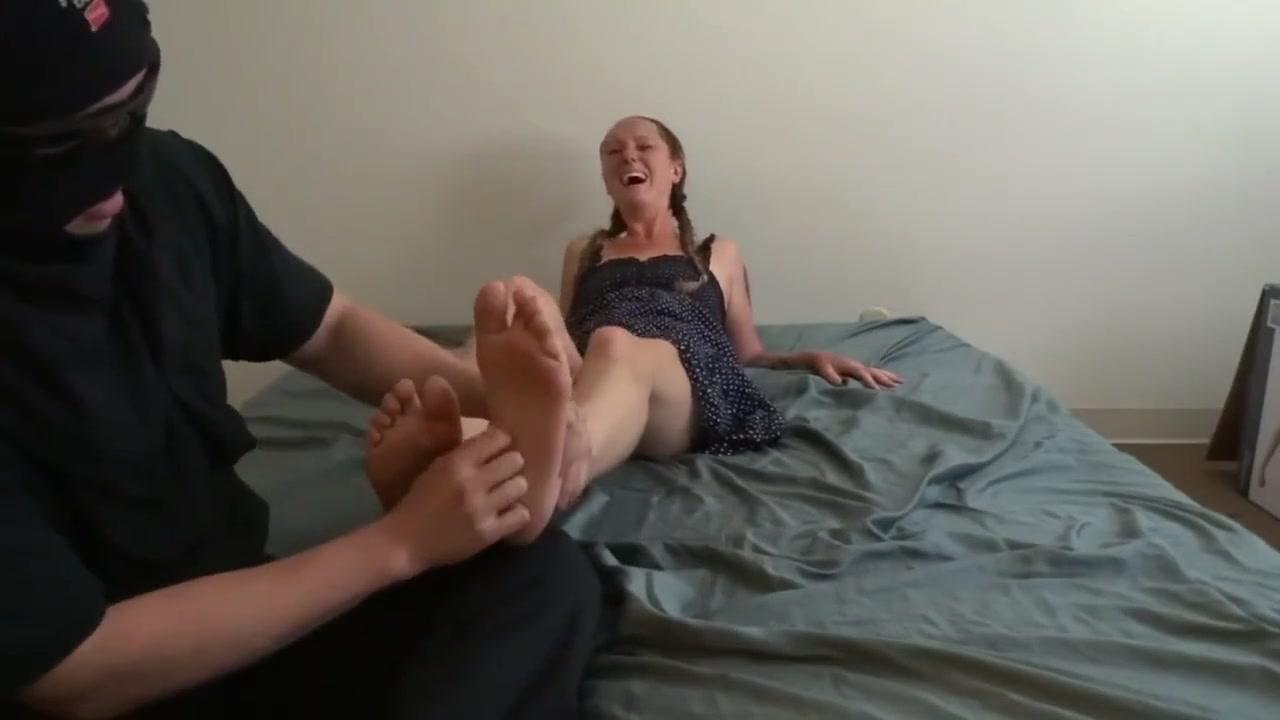 Sallys Bare Feet Tickled Up Close