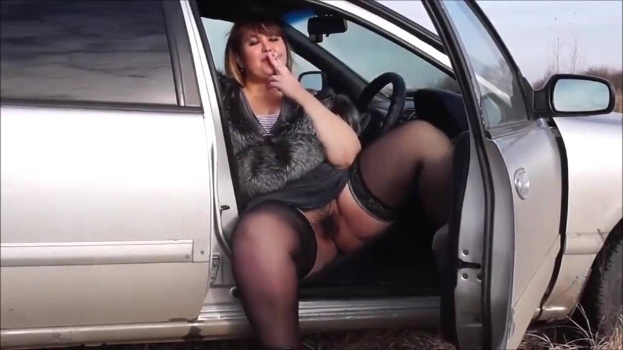 sexy bbw in stockings flash and smoke in car Praveet Xxx